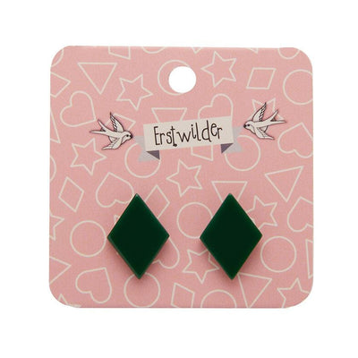Diamond Solid Resin Stud Earrings - Emerald