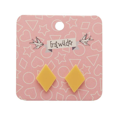 Diamond Solid Resin Stud Earrings - Light Yellow