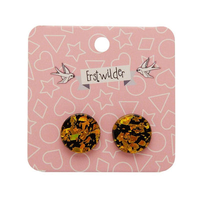 Erstwilder Essentials Circle Chunky Glitter Resin Stud Earrings - Holographic Yellow EE0004-CG0260