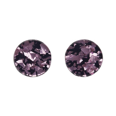 Circle Chunky Glitter Resin Stud Earrings - Pink