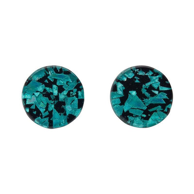 Circle Chunky Glitter Resin Stud Earrings - Teal