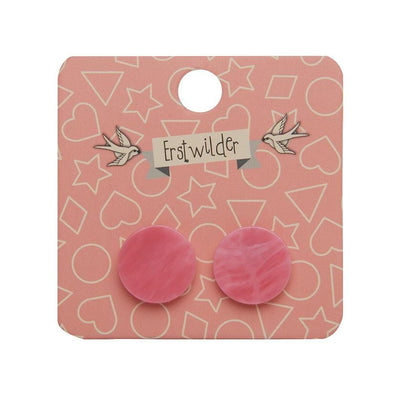 Circle Marble Resin Stud Earrings - Pink