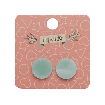 Circle Marble Resin Stud Earrings - Mint