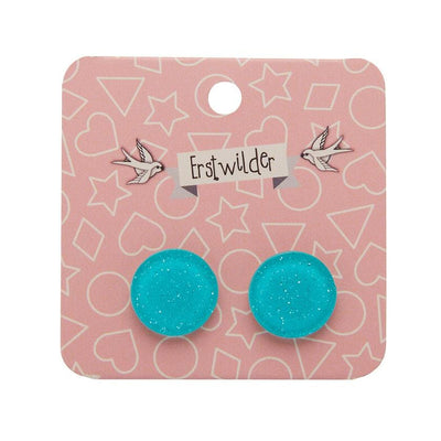Circle Glitter Resin Stud Earrings - Turquoise