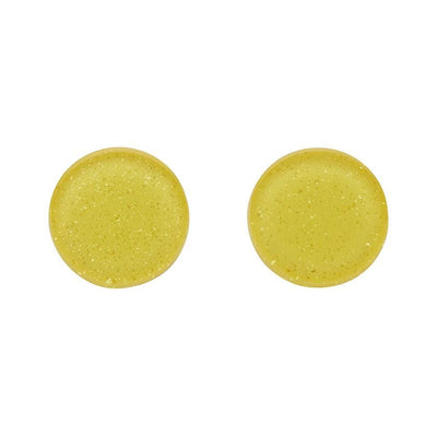 Circle Glitter Resin Stud Earrings - Yellow