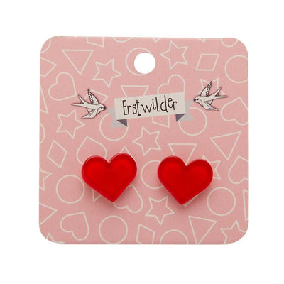 Erstwilder Essentials Heart Bubble Resin Stud Earrings - Red EE0005-BU1000
