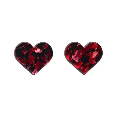 Heart Chunky Glitter Resin Stud Earrings - Red