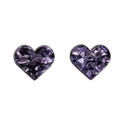 Heart Chunky Glitter Resin Stud Earrings - Lavender
