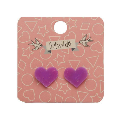 Heart Glitter Resin Stud Earrings - Purple