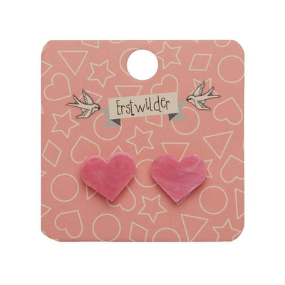 Heart Marble Resin Stud Earrings - Pink