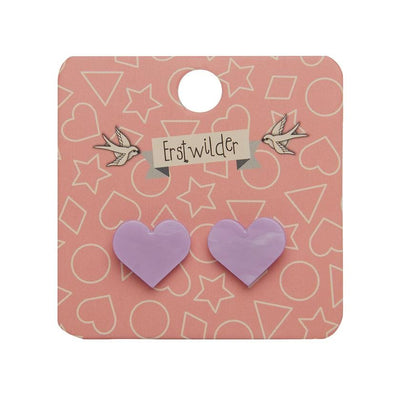 Heart Marble Resin Stud Earrings - Lavender