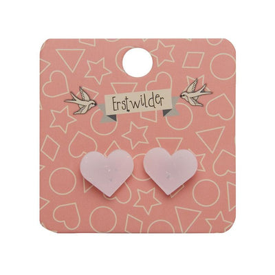 Erstwilder Essentials Heart Solid Glitter Stud Earrings - Pink EE0005-G2100