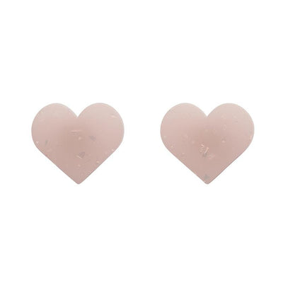 Heart Solid Glitter Stud Earrings - Pink