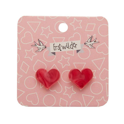 Erstwilder Essentials Heart Textured Resin Stud Earrings - Pink EE0005-RI2000
