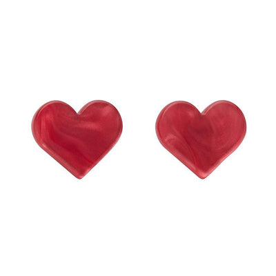 Heart Textured Resin Stud Earrings - Pink