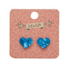 Heart Textured Resin Stud Earrings - Blue