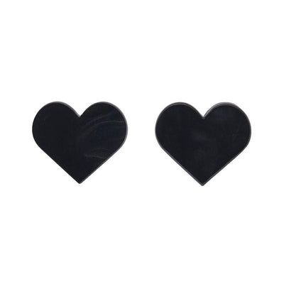 Heart Textured Resin Stud Earrings - Black