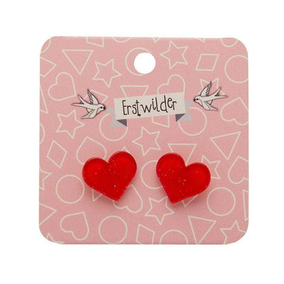 Heart Glitter Resin Stud Earrings - Red