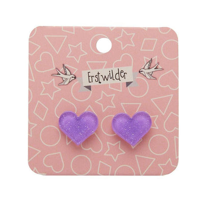 Heart Glitter Resin Stud Earrings - Lavender