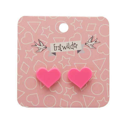 Erstwilder Essentials Heart Solid Resin Stud Earrings - Pink EE0005-SO2000