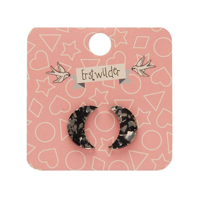Erstwilder Essentials Crescent Moon Chunky Glitter Resin Stud Earrings - Gold EE0006-CG6500