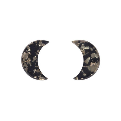 Crescent Moon Chunky Glitter Resin Stud Earrings - Gold