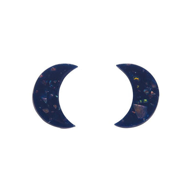 Crescent Moon Solid Glitter Resin Stud Earrings - Dark Blue