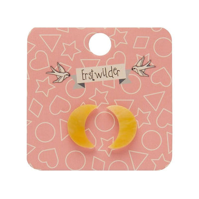 Crescent Moon Marble Resin Stud Earrings - Yellow