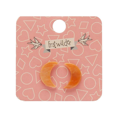 Crescent Moon Marble Resin Stud Earrings - Orange