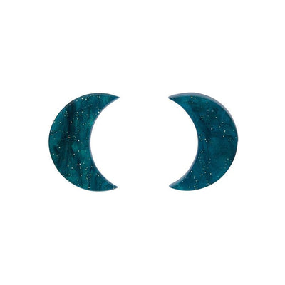 Crescent Moon Ripple Glitter Resin Stud Earrings - Emerald