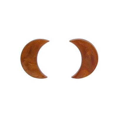 Crescent Moon Ripple Resin Stud Earrings - Gold