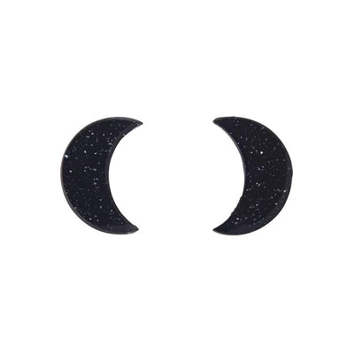 Crescent Moon Glitter Resin Stud Earrings - Black