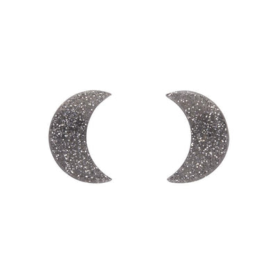 Crescent Moon Glitter Resin Stud Earrings - Silver