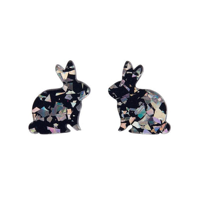 Bunny Chunky Glitter Resin Stud Earrings - Holographic Silver