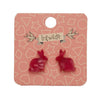 Bunny Textured Resin Stud Earrings - Red