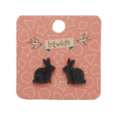 Bunny Textured Resin Stud Earrings - Black