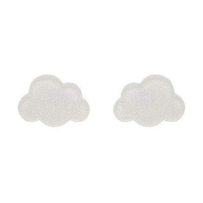 Cloud Glitter Resin Stud Earrings - White