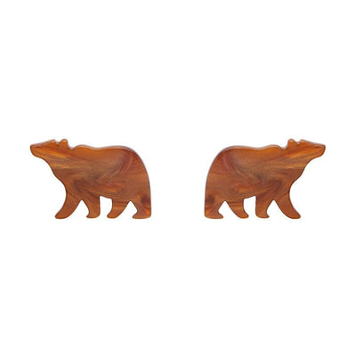 Erstwilder Essentials Bear Textured Resin Stud Earrings - Brown EE0009-RI9000