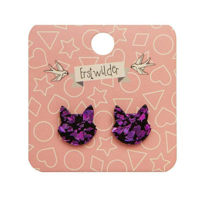 Cat Head Chunky Glitter Resin Stud Earrings - Purple