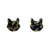 Cat Head Chunky Glitter Resin Stud Earrings - Yellow