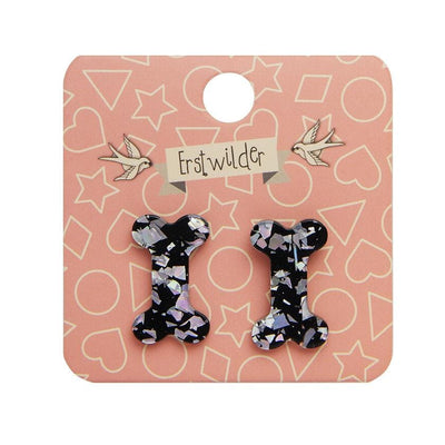 Erstwilder Essentials Bones Chunky Glitter Resin Stud Earrings - Silver EE0014-CG7200
