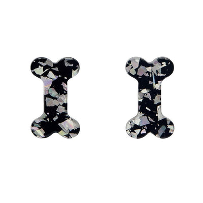 Bones Chunky Glitter Resin Stud Earrings - Silver