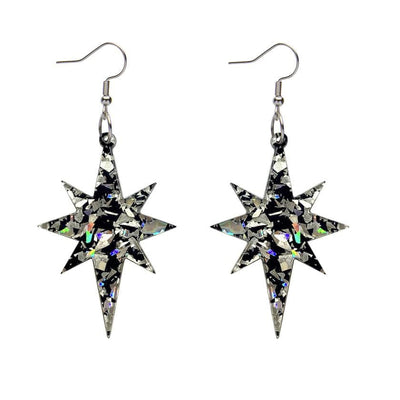 Starburst Chunky Glitter Resin Drop Earrings - Holographic Silver