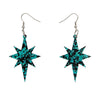 Starburst Chunky Glitter Resin Drop Earrings - Teal