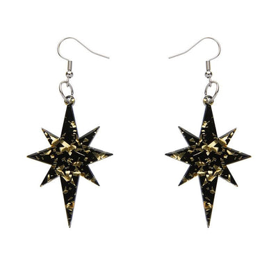 Starburst Chunky Glitter Resin Drop Earrings - Gold