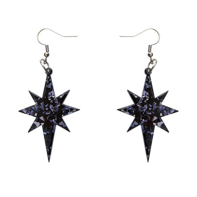 Erstwilder Essentials Starburst Chunky Glitter Resin Drop Earrings - Black EE1002-CG7000