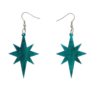 Starburst Ripple Glitter Resin Drop Earrings - Emerald