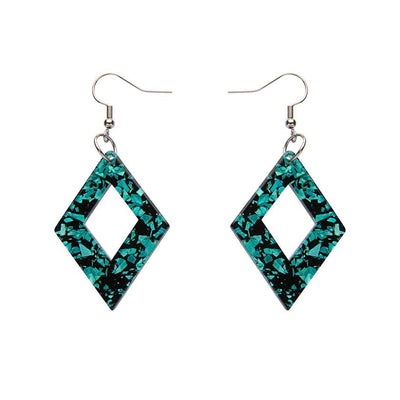 Diamond Chunky Glitter Resin Drop Earrings - Mint