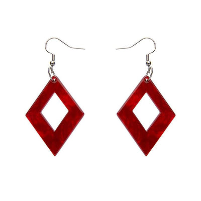 Diamond Ripple Resin Drop Earrings - Red