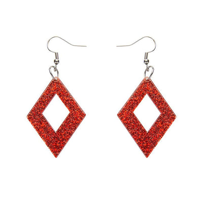 Diamond Glitter Resin Drop Earrings - Red